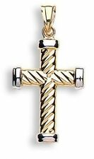 9ct Yellow Gold & White Holy Cross Shape Ribbed Hallmarked Modern Pendant Gift