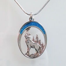 HOWLING WOLF Twilight Moon Turquoise NECKLACE Lobo Lupo Silver Pendant Jewelry