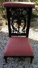 Ancienne Chaise de Prière - Meuble Siège en Bois Tapissée Velours   rose