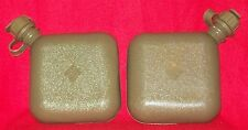 2 NEW - GENUINE US MILITARY SURPLUS COLLAPSIBLE 2 QT CANTEENS WITH NBC M1 CAP