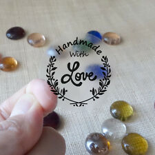 "60x Transparent ""Handmade with Love""  Scrapbook Labels Stickers Seals #05"