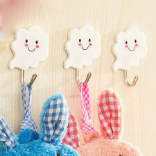 3X White Cloud Self Adhesive Sticky Stick On Hooks Kitchen Bathroom Towel Hanger