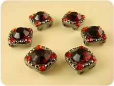 "Beads ""Gala"" Red Siam 8mm Swarovski Crystal Elements ~ 2 Hole Sliders QTY 6"