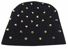 Gold Spike Studs on Black Knit Beanie Ski Hat Cap Beanie Style-New with Tags!