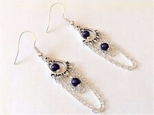 NAVY BLUE MIRACLE BEADS SILVER DRAPE CHAIN DANGLE EARRINGS ~ 925 SILVER WIRES