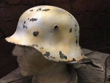 German Helmet  with decal plastic replica winter camo weathered