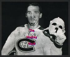 BLOODY HOFer Jacques PLANTE POSES w/ His MASK for The MONTREAL CANADIENS 8X10 !!