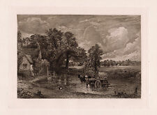 """Stunning JOHN CONSTABLE 1800s Antique Etching """"Horse pulled Hay Wain"""" FRAMED COA"""