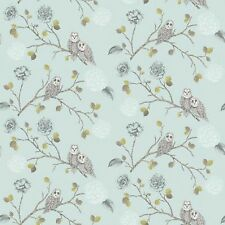 New Arthouse Night Owl Duck Egg Floral Motif Patterned - Wallpaper - 665001