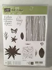 BUILD A BOUQUET Stampin Up Flowers Wood Grain Oh Happy Day Butterfly Heart