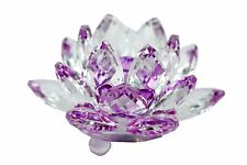"Stunning 3.5"" Clear & Purple Hue Reflection Crystal Lotus Home Decor USA Seller"