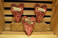 3 Grungy Stuffed HEART Ornies Bowl Fillers Cupboard Tucks Valentines Day Prim