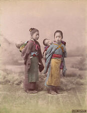 A Hand tinted Albumen photo of  Young Japanese Nurses with Babys  Japan C1880.