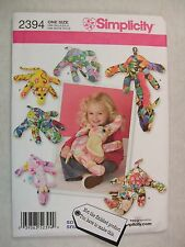 Fleece Stuffed Toy Animals Sewing Pattern Simplicity 2394 See Full Listing Info
