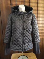 Calvin Klein Quilted Taupe Brown Short  Jacket Detachable Hood Size XL
