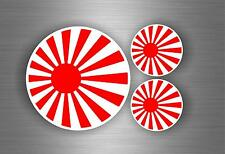 3x Sticker flag rising sun japan motorcycle car tuning jdm hand bike biker