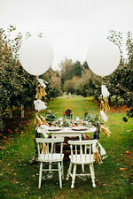 DUO Large White Giant Balloons Tail Wedding Party Venue Birthday Gold Tassels