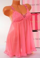 NWT Victoria's Secret Lingerie Fly-away Tulle Babydoll Lace Unlined M Pink