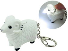 White Lamb Sheep Key Chain Ring with LED Light and Animal Sound