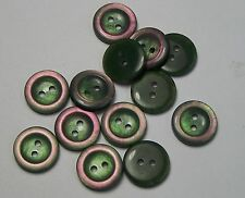 10pc Abalone Green Pink 16mm 2 Hole Cardigan Trouser Skirt Kids Baby Button 0197