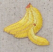 Iron On Embroidered Applique Patch Small Yellow Banana Bunch Fruit