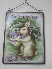 "Primitive Easter Metal Sign Rabbit Hanging Wall Decoration ""Easter Greating"" NEW"
