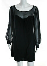 NWT LEONA BY LAUREN CONRAD Black Silk Long Sheer Sleeve Lila Dress Sz 6 $298