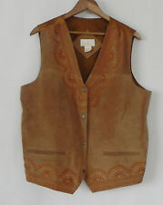 Roaman's Vest Leather/Satin Brown Embroidery Trim Pockets Size M