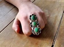 """Old LONG 2"""" Navajo Sterling Silver Native American Green Turquoise Size 8.5 Ring"""