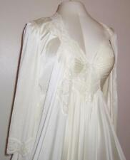 Vtg Ivory Olga nylon Lace sweep Nightgown gown Lace Nylon peignoir Lingerie L