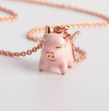KATE SPADE 12K Rose-Gold Imagination Pave Pig Mini Pendant Necklace w/ Dust Bag