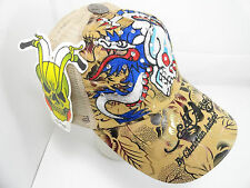 NWT Ed Hardy Cap Christian Audigier Tan Skull Dragon Vintage Tattoo Wear