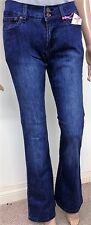 Ladies Size 8 Boot Cut Navy Blue Skinny jeans Stone Wash Denim Button Zip