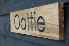 Personalised Engraved Oak Wooden Sign for House, Stable, Boat, Door, Barn, Name