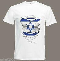 Israeli Flag T-Shirt see Muscles through Ripped T-Shirt Israel Sizes S - XXXL
