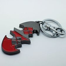 Rhodium Plt & Enamel Harley Quinn Bat DC Comic Keychain Ladies, Girls Mens Gift