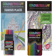 2 X COLOUR THERAPY ADULT ANTI STRESS COLOURING BOOK + 12 FINELINERS +12 PENCILS