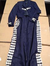1  set (top/bottom) Navy Mariachi Costume Uniform Jacket Suit Skirt Small