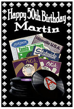 50th NORTHERN SOUL (RECORD LABELS) - HAPPY BIRTHDAY PERSONALISED CARD (ANY NAME)