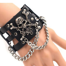 Gothic Punk Skull Link Chain Hollow Leather Wrist Band Bangle Cuff Bracelet Gift