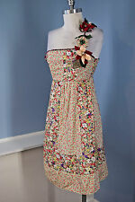 Anthropologie Humming Floral One Shoulder Flare Dress cocktail casual S EUC