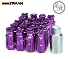 EPMAN Lightweight Aluminum Racing Lug Nuts Open End with key M12X1.5 PURPLE