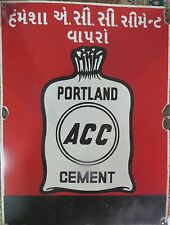 advertisement porcelain enamel sign PORTLAND ACC CEMENT PICTORIAL INDIA VINTAGE