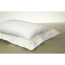 8 FRETTE White Smeraldo w/Triple Gold Piping Euro Shams, Italian, ~FREE SHIP~