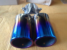 704 BLUE UNIVERSAL TWIN CHROME EXHAUST MUFFLER TIP FOR ALL CAR CALIBER 6.0cm 1PC