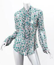 L'WREN SCOTT Womens Floral SILK Long Sleeve Button Down Shirt Top Blouse 44 NEW