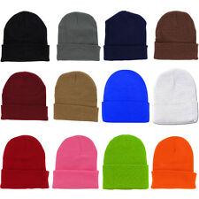 5x Plain Beanie Ski Hat Skull Knit Winter Cuff Pick Your Color Mens & Womens B31
