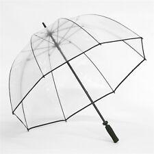 Clear Elite Rain Fiberglass Golf Bubble Dome Umbrella with Black Trim