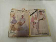 2 Vintage Sewing Patterns Wedding Dress Bridal Gowns Simplicity Size 10 & 14