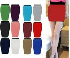 WOMEN LADIES PLAIN JERSEY BODYCON STRETCH SHORT MINI OFFICE PENCIL SKIRT 6-22*sw